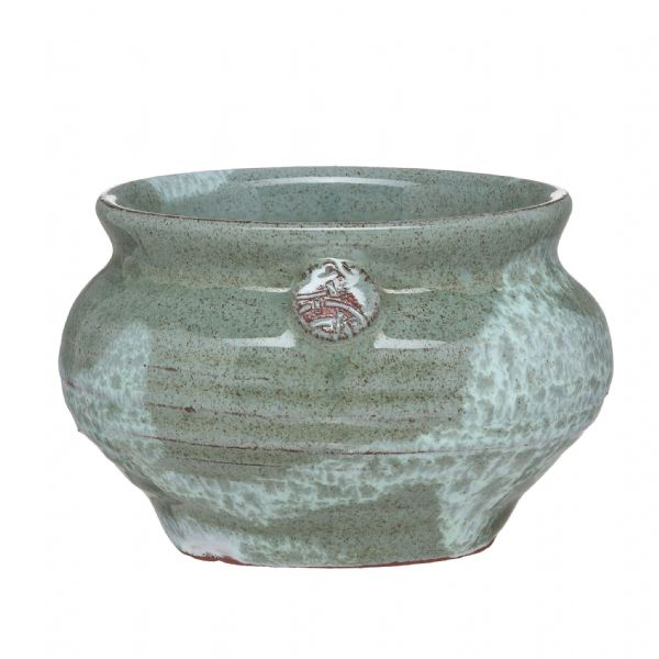 Green/White pinch pot